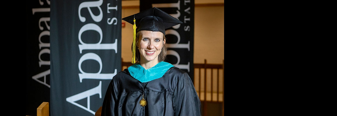 Jennifer McCracken served as the graduate student commencement speaker during App State