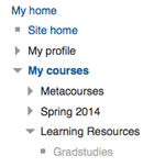 AsULearn screenshot showing course list with Gradstudies course under My Courses