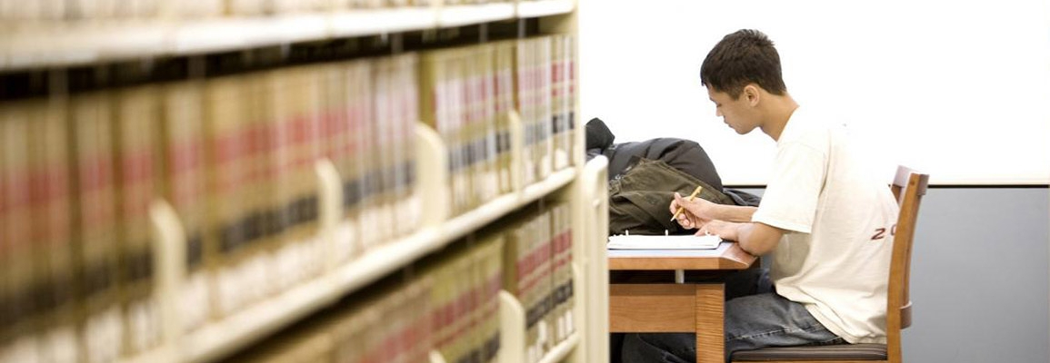 Student studying in Appalachian's library